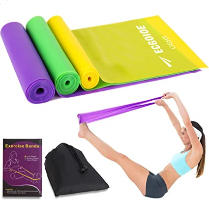 Different Strength Exercise Resistance Bands Set of 3, Stretch Bands for Any Exercise,Home Gym, Physical Therapy, Sport, Pilates, Muscle Relaxation ...