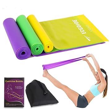 Amazon.com: ECGOIOE Juego de 3 bandas de ejercicio planas ...