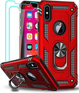 LeYi iPhone Xs Max Case (Not Fit iPhone Xs) with Tempered Glass Screen Protector [2 Pack], [Military Grade] Protective Phone Case with Magnetic Ring Kickstand for iPhone Xs Max / 10Xs Max, Red