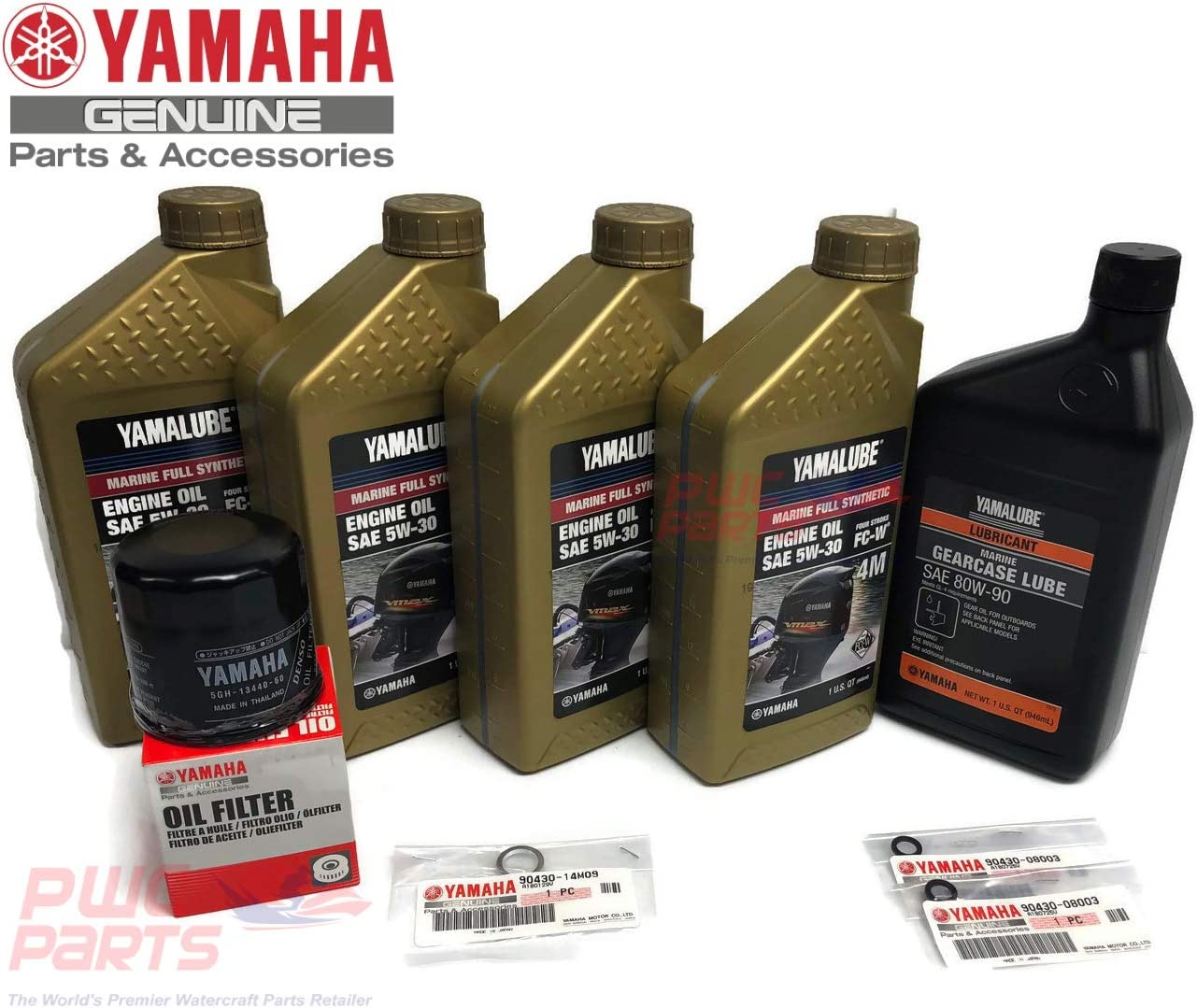 YAMAHA OEM F75 F90 F115 FULL Synthetic Oil Change Filter Lower Unit Gear Lube Kit w/Drain Fill Gaskets 5W-30 4M