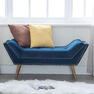 Kmax Upholstered Entryway Bench with Arms, Button Tufted Velvet Fabric Bedroom Bench with Nailhead Trim & Rubber Wood Legs, Navy Blue