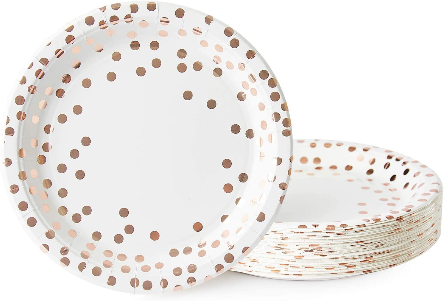 Party Paper Plates, 50-Pack Disposable White and Rose Gold Plates, Foil Polka Dots, 9-Inch