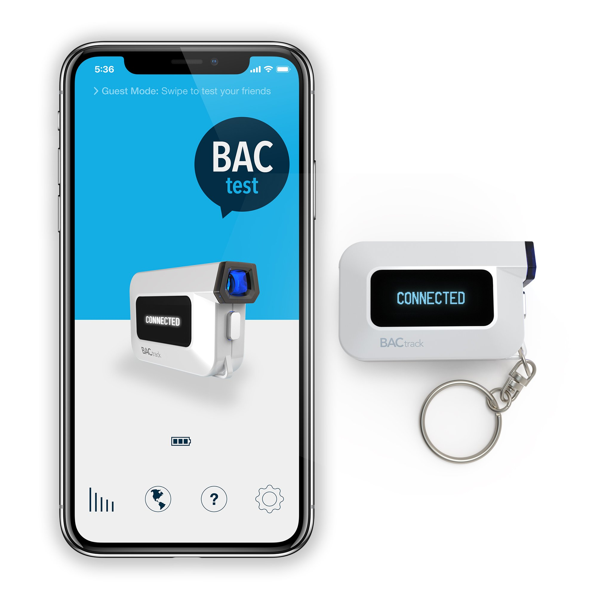 BACtrack C6 Keychain Breathalyzer | Police-Grade Accuracy | Optional  Smartphone Bluetooth Connectivity to iPhone & Android Devices