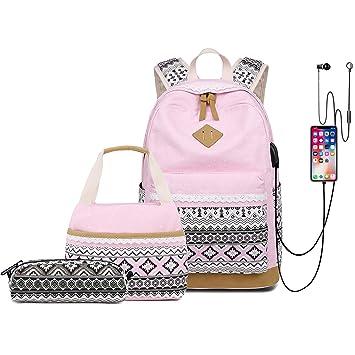 6f6048b90998 CAMTOP Teens Backpack for School Boys Girls School Bookbag Set Travel  Daypack (1905-1 Pink)
