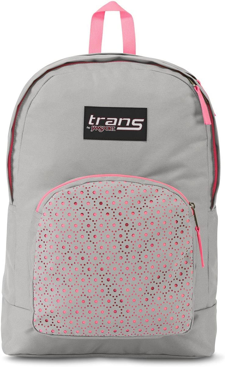 """Trans by JanSport Overt 17.5"""" Laser Lace Backpack - Gray/Pink"""