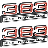"""383 High Performance 6.3L Engine Emblems Badges in Chrome /& Red 4/"""" Long Pair"""