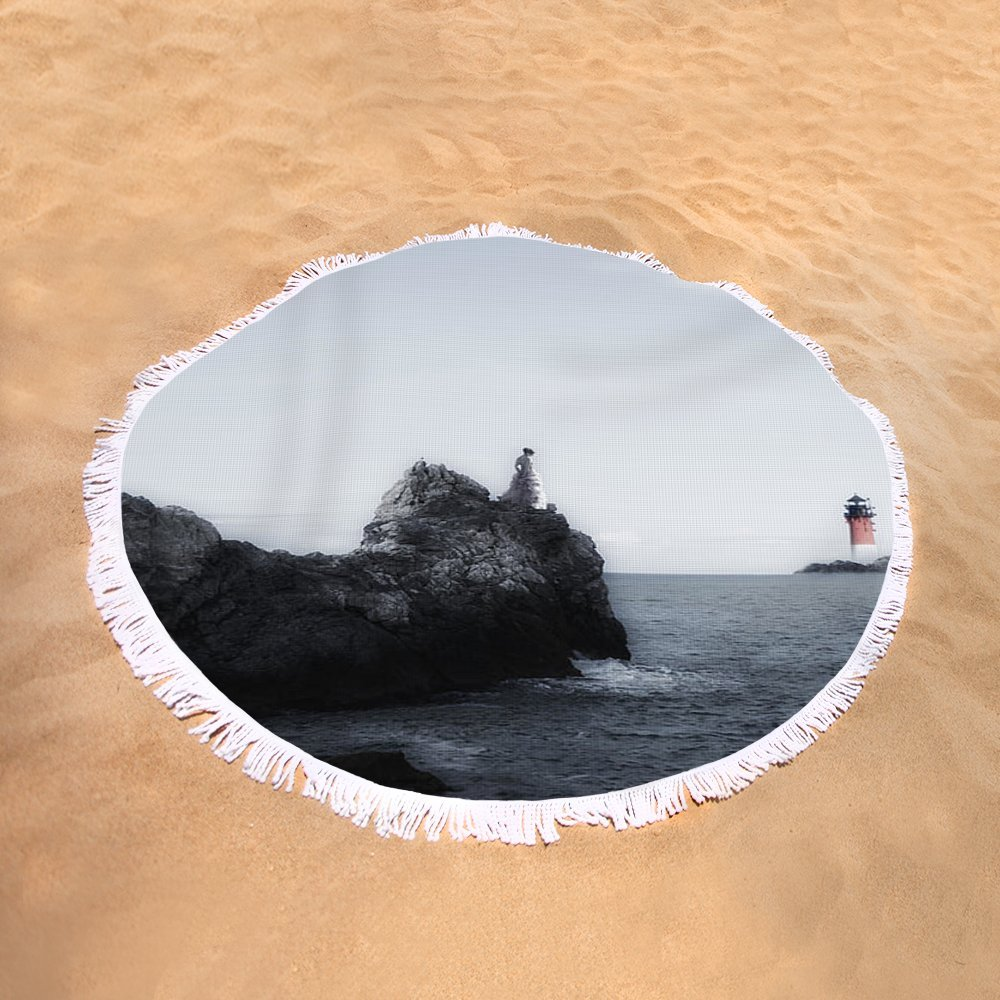 Pixels Round Beach Towel With Tassels featuring ''Girl On Cliffs'' by Joana Kruse