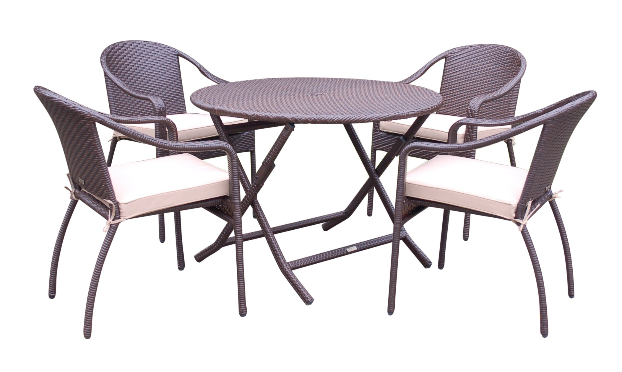 Jeco W00501R-G-FS006 5 Piece Cafe Curved Back Chairs and Folding Wicker Table, Espresso