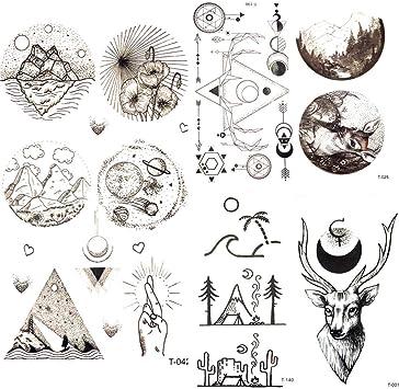 Tatuajes Temporales Pequeño Triángulo Redondo Estrella Luna ...