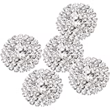 MagiDeal 5 Pcs Strass Bottoni Con Gambo Per Decorazione Argento 21mm Accessorio Cristallo