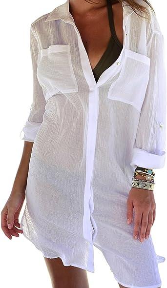 Bsubseach Mujer Blusa de Playa Vestido Camisero Sexy Verano Cubrir Bikini Camisola y Pareos Ropa de Playa Transparente Cover up: Amazon.es: Ropa y accesorios