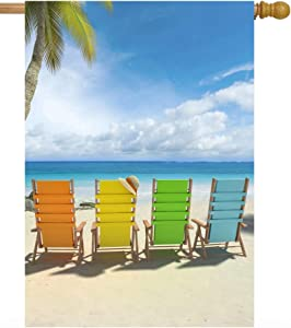 """ShineSnow Summer Beach Tropical Colorful Chairs Palm Tree Sea Ocean Nature House Flag 28"""" x 40"""" Double Sided Polyester Welcome Large Yard Garden Flag Banners for Patio Lawn Home Outdoor Decor"""