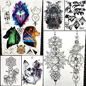 6 Hojas Galaxia Bosque Lobo LeóN Tatuajes Pegatina Hombres Flash ...