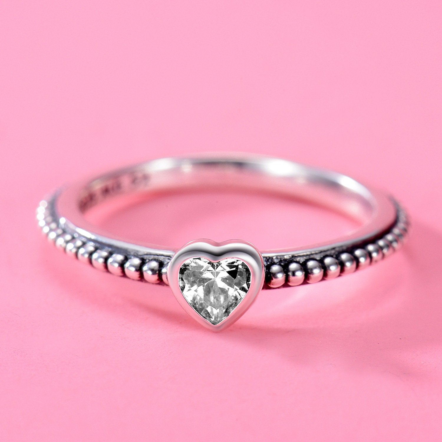 Changeable Solitaire Promise Rings - White Crystals, Solid 925 Sterling Silver # Size 6 (Soul Heart) by Changeable (Image #3)