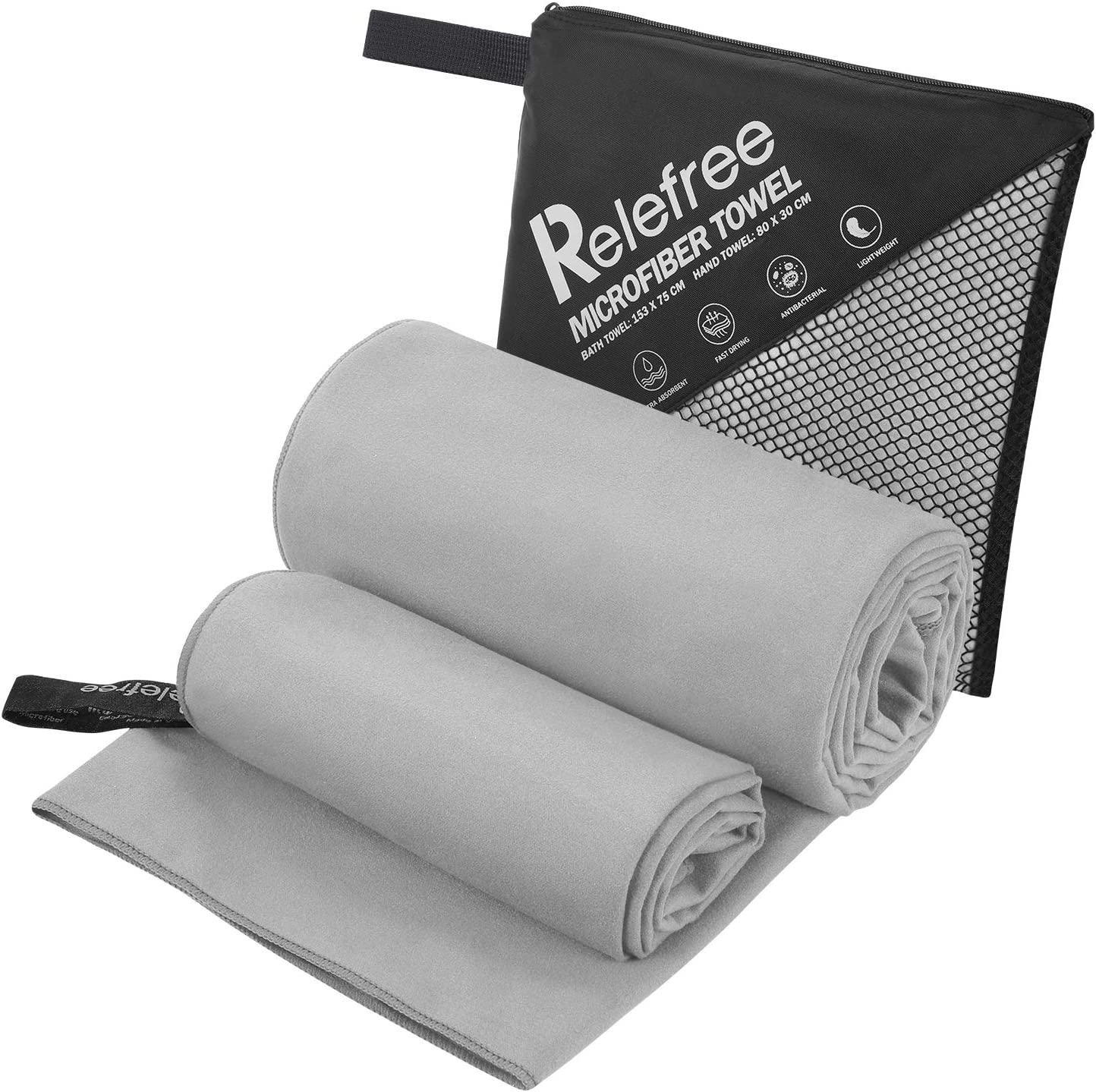 Relefree Microfiber Towels(2 Pack),Yoga and Gym Towels Quick Dry