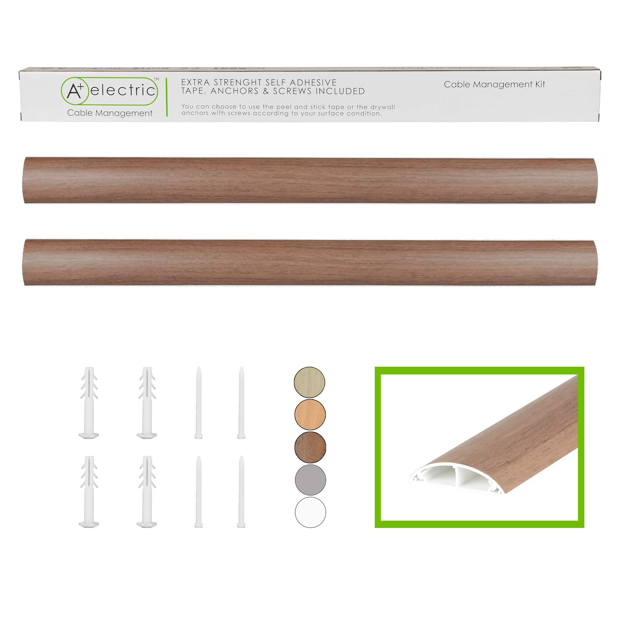 "Cables Management Kit- TL:66"" Natural Walnut Rigid Durable Organizer Electric Wire Raceway Self Adhesive Cord Concealer On-Wall / Floor Cable Cover Channel 2 Pieces (WxHxL) 50x12x840mm/1.97''x0.47''x33''"
