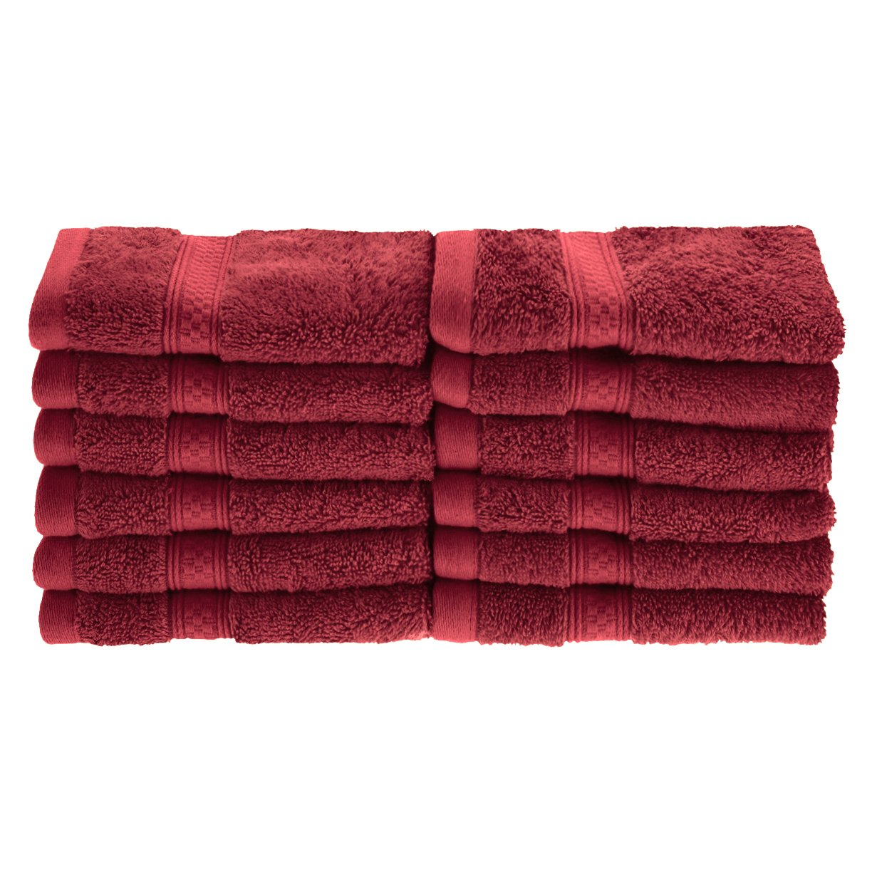 Superior Rayon from Bamboo and Cotton Face Towels, Velvety Soft and Super Absorbent, Hotel & Spa Quality Washcloth Set of 12 - Crimson, 13'' x 13'' each