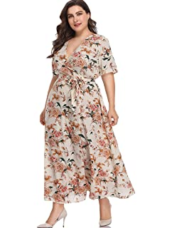4c96d390f9fef Romwe Women s Plus Size Floral Print Buttons Short Sleeve V Neck Flare Flowy  Maxi Dress