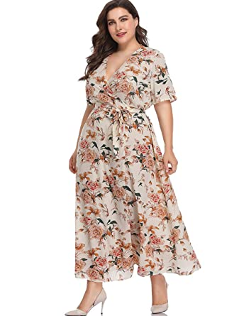 Romwe Womens Plus Size Floral Print Buttons Short Sleeve V Neck