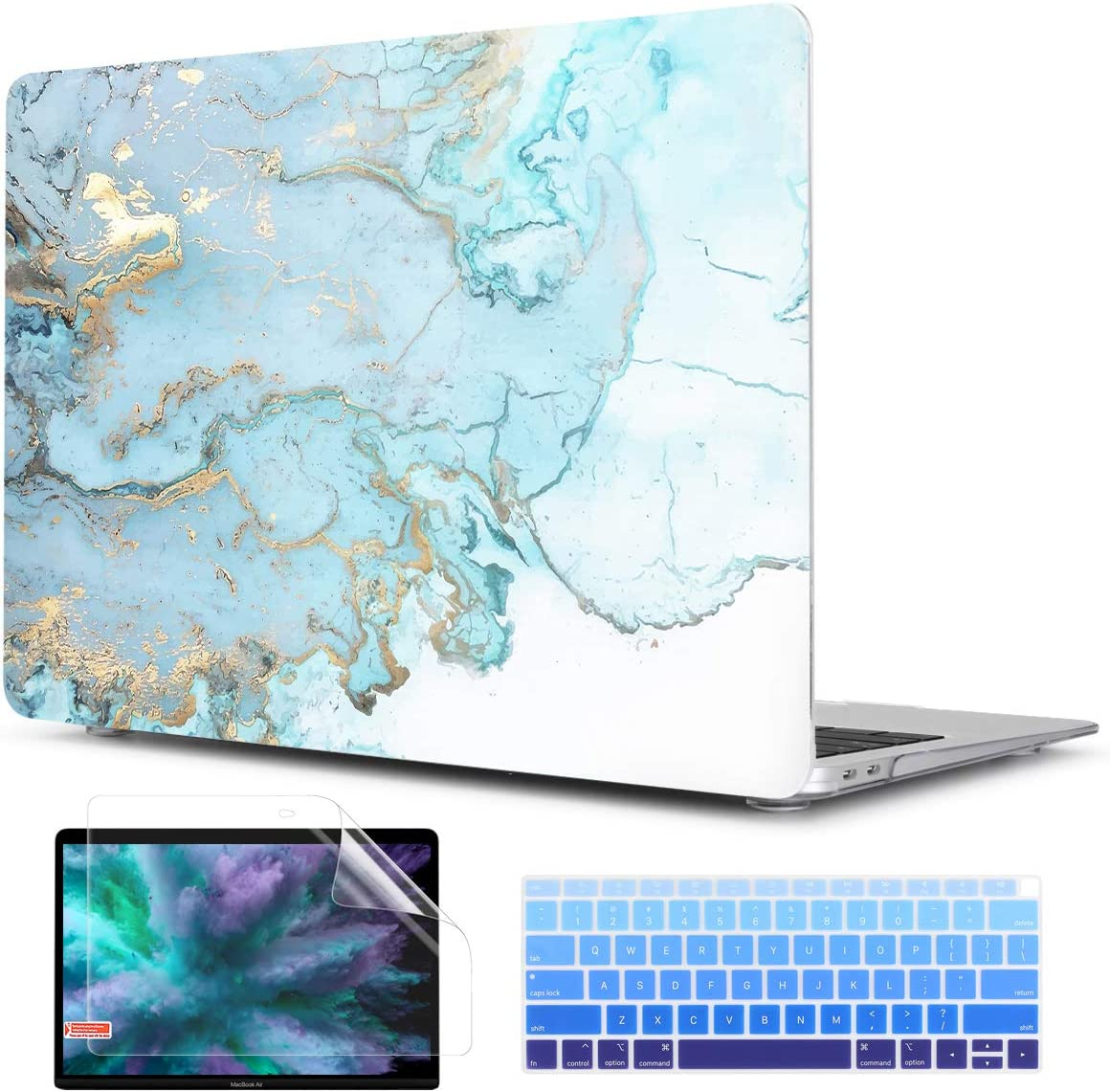 TwoL Ultra Slim Hard Shell Case Keyboard Skin and Screen Protector for New MacBook Air 13 inch 2018 2019 Model A1932 Earth