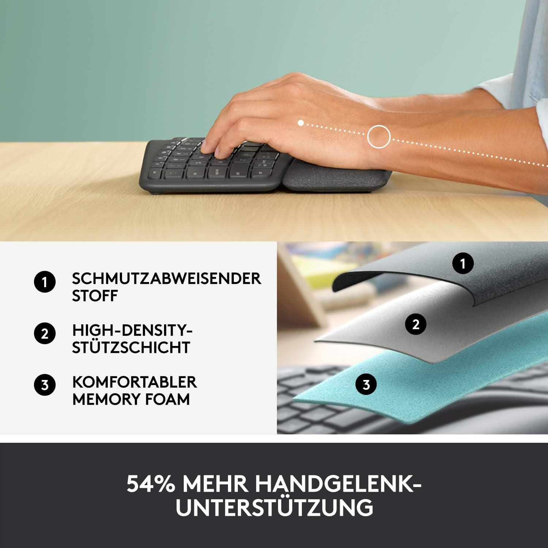 Handgelenkauflage und -st/ütze f/ür nat/ürliches Tippen Bluetooth kabellose ergonomische Tastatur mit geteilter Tastenanordnung Logitech Ergo K860 Windows//Mac USB-Empf/änger inbegriffen Graphite