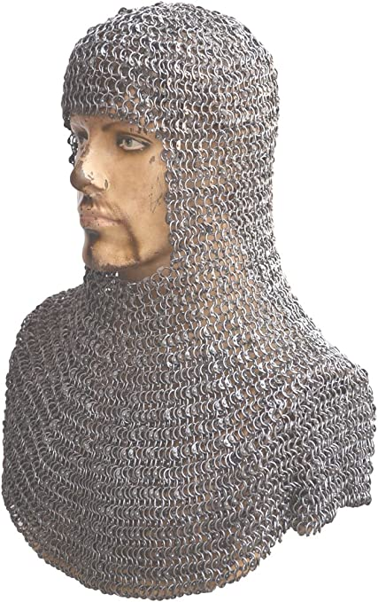 Chainmail Coif Aluminum V-neck Chainmail Hood