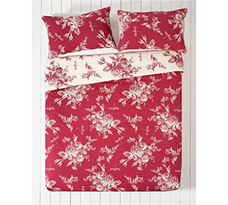 4c32f46d004 Collection Lottie Red and Cream Bedding Set - Double  Amazon.co.uk  Kitchen    Home