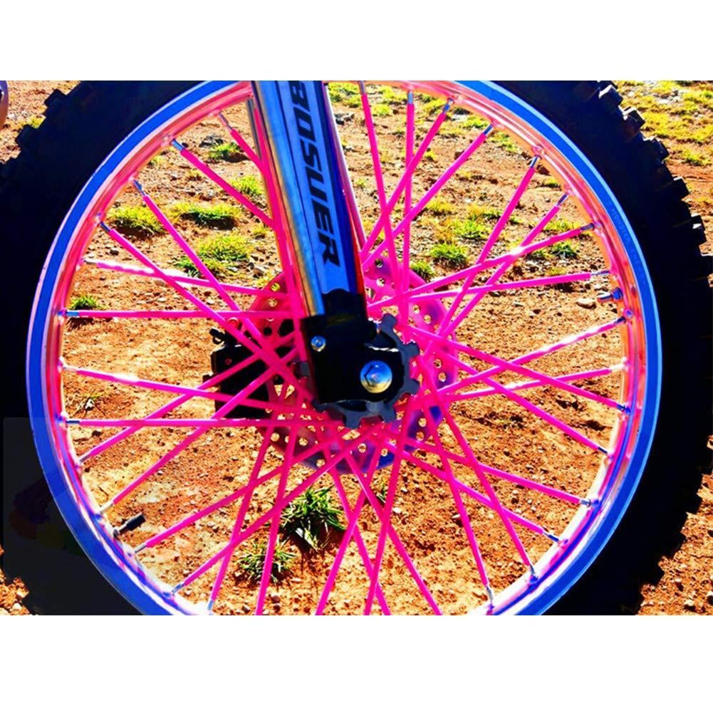 Tama/ño Libre Rojo Colorida y Protectora Zacha Accesorios universales Funda Protectora para radios de Rueda 72 Piezas para Bicicleta de Cross es Decorativa Azul Oscuro