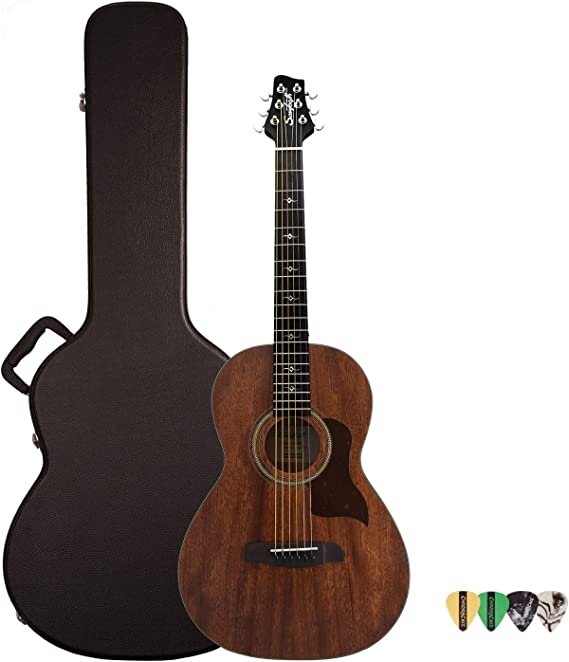 Sawtooth Mahogany Series Solid Mahogany Top Acoustic-Electric Parlor Guitar with Hard Case and Pick Sampler