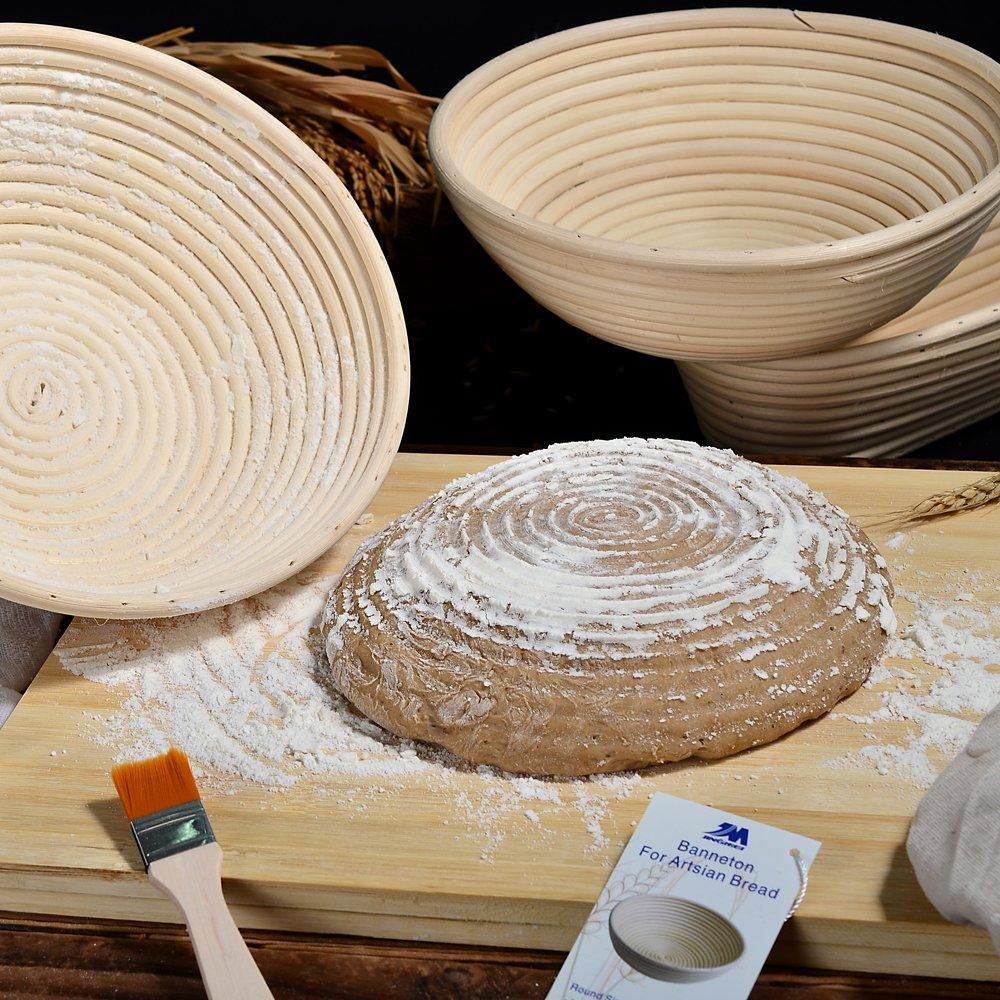 M JINGMEI Banneton Proofing Basket 10'' Round Banneton Brotform for Bread and Dough [Free Brush] Proofing Rising Rattan Bowl(1000g Dough) + Free Liner + Bread Lame by M JINGMEI (Image #6)