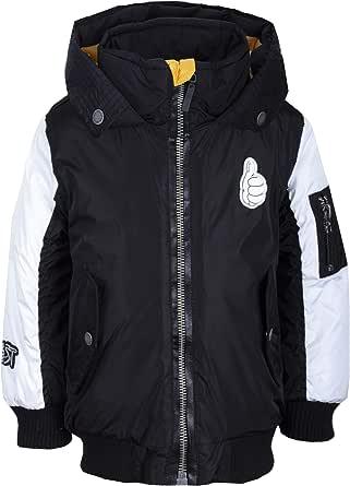 GULLIVER Chaqueta de entretiempo para niños y jóvenes, color blanco y negro, impermeable, con capucha, 2-6 años, 98-116 cm