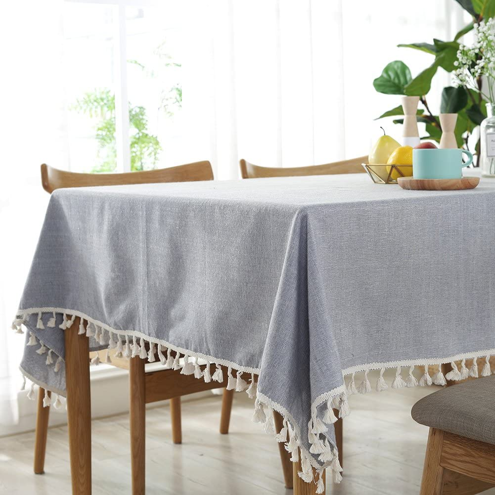 ColorBird Solid Color Tassel Tablecloth Plain Cotton Linen Dust-Proof Table Cover for Kitchen Dinning Party Tabletop Decoration (Rectangle/Oblong, 55 x 70 Inch, Light Gray)
