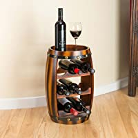 Christow Wooden Barrel Wine Rack Wood Bottle Holder Table Top 8 Bottles H50cm