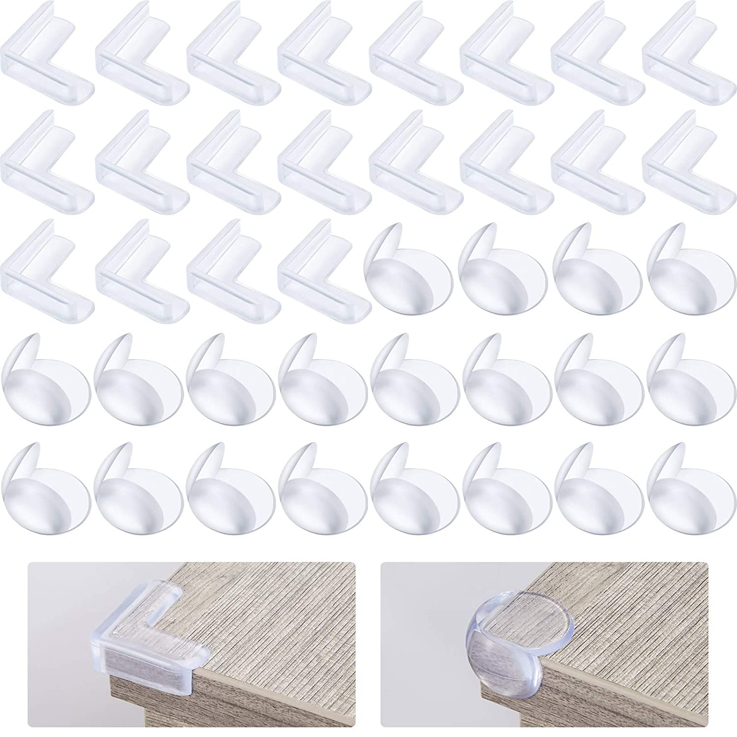40 Pieces Clear Corner Guards Corner Protector Edge Corner Bumpers Baby Proofing Furniture Cabinet Cushion Corner Edge Protector for Baby Safety (L-Shape and Round)