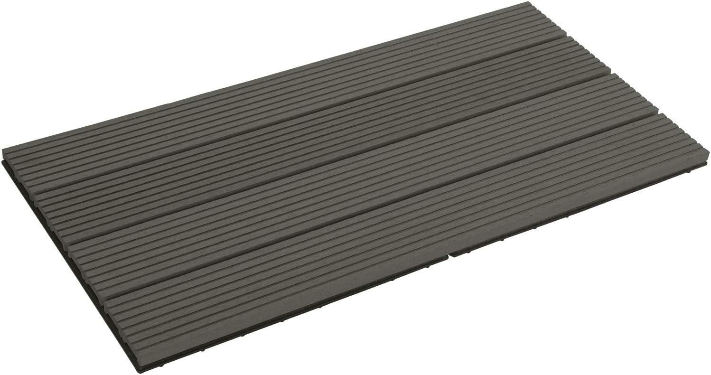 Terrassendielen Holz-Optik 30x60cm Fliese Bodenfliese mit klicksystem,Einfach zu installieren 12 St/ück // 2 m/² EUGAD Terrassenfliesen Klickfliese WPC Bodenbelag Braun