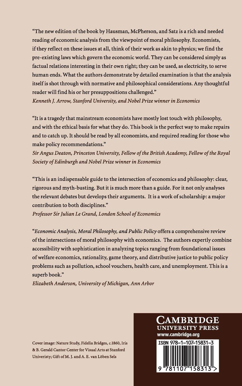 Economic Analysis, Moral Philosophy, and Public Policy: Amazon.co.uk:  Daniel Hausman, Michael McPherson, Debra Satz: Books