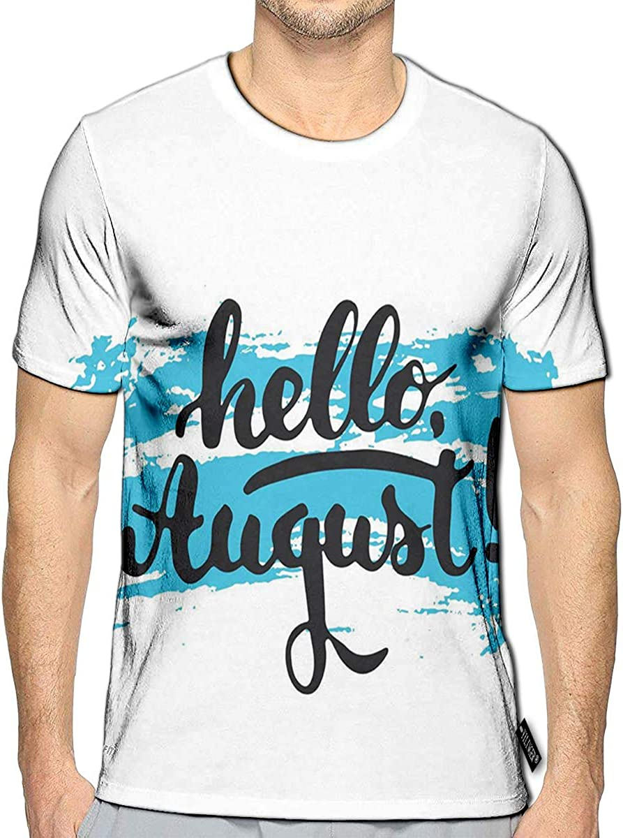 3D Printed T Shirts Hello August The Blue Sketch The White Casual Mens Hipster Top Tees