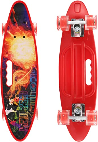 SANSIRP 23 Inches Plastic Skateboard, Complete Portable Mini Skateboards with Bendable Deck LED Wheels for Beginners Kids Adults