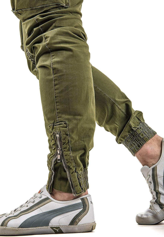 Instinct Pantaloni Cargo Uomo con Tasche Laterali Tasconi Zip Slim Fit W7