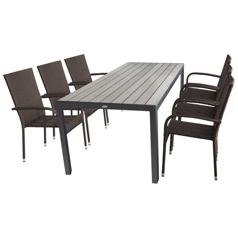 Multistore 2002 7tlg. Gartenmöbel Set - Gartentisch, Aluminiumgestell, Polywood-Tischplatte, 205x90cm + 6X Gartenstuhl, Polyrattanbespannung, stapelbar, braun-meliert