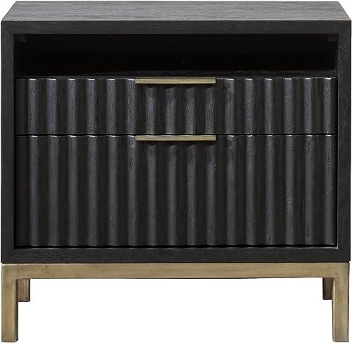 Modus Furniture Kentfield Nightstand, Black Drifted Oak
