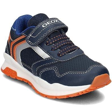 Geox Jungen J Waviness Boy C Sneaker, Blau (Navy/Orange), 35 EU