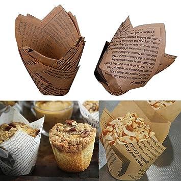 50 stücke Tulip Wrapper Muffin Cupcake Liner Cup Kuchen Papier Backen Werkzeug