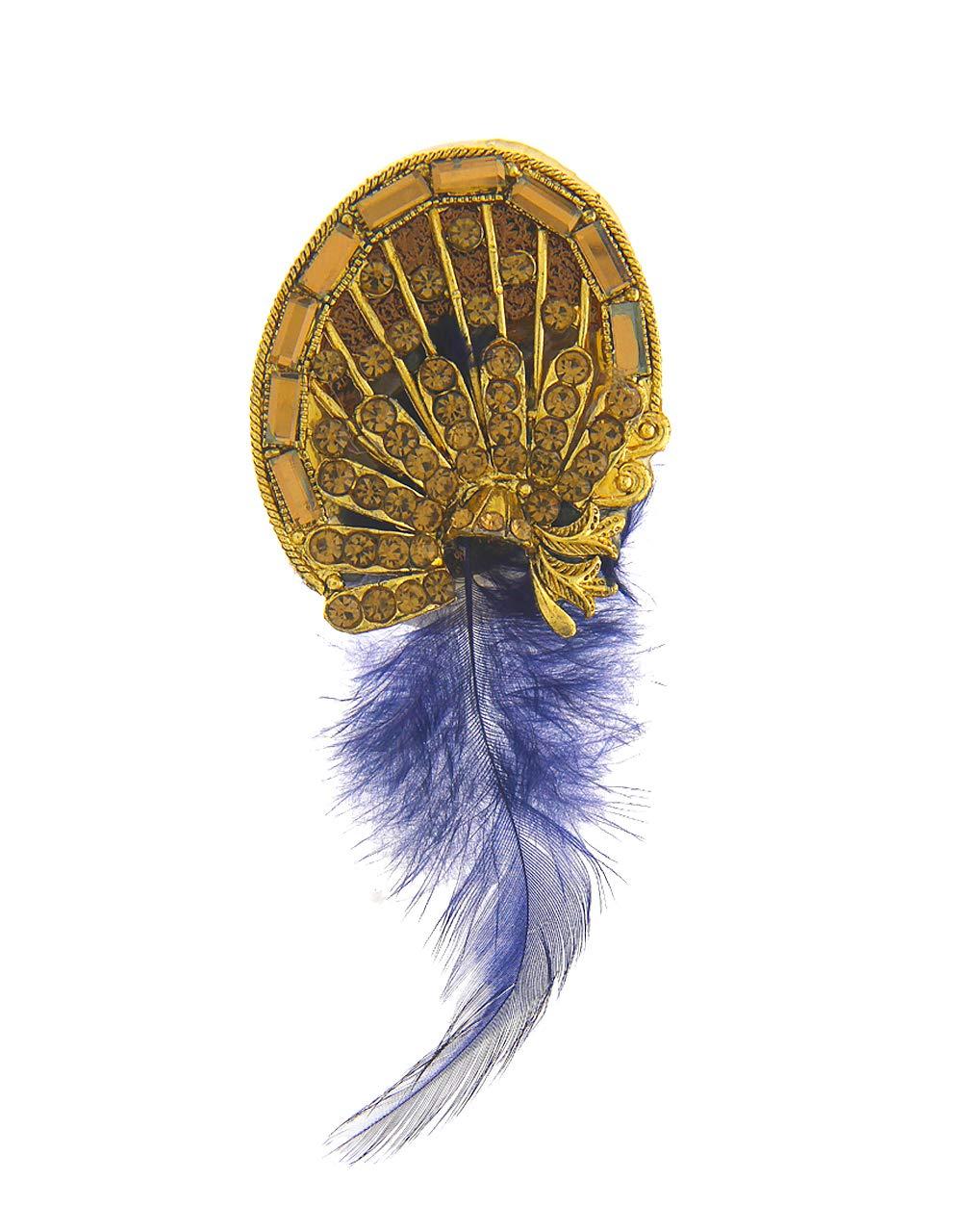 Anuradha Art Blue Colour Wonderful Classy Styled with Feather Wonderful Sari/Saree Pin for Women/Girls