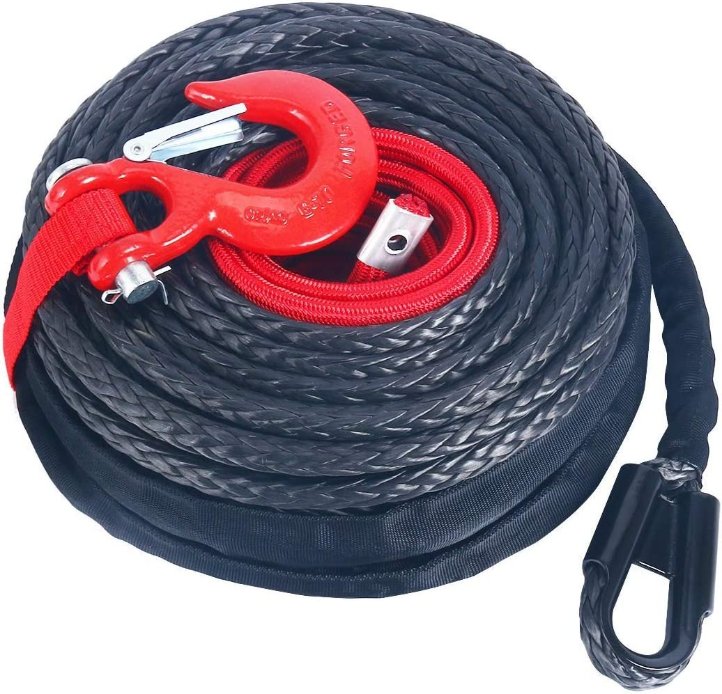 RED Hook Compatible with Jeep ATV UTV KFI Truck Boat Ramsey YaeKoo 92ft x 1//2 Inch Black Synthetic Winch Rope Dyneema Material 22000LBs Protective Sleeve