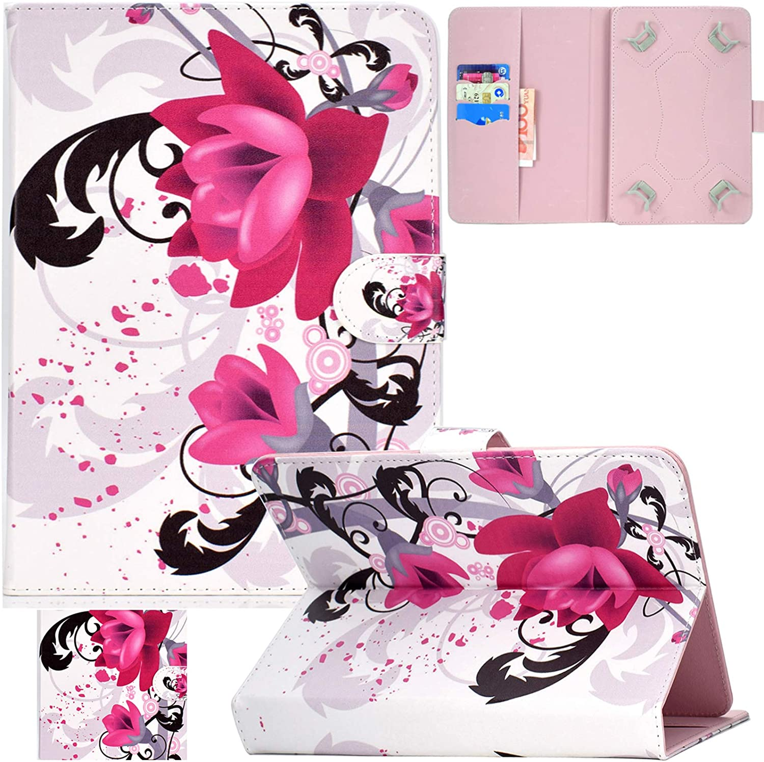 Universal 10.0 Tablet Case, Artyond PU Leather Folio Stand Card Slot Case for iPad 9.7 2018 2017/ iPad Air 1 2/ Galaxy Tab A 10.1/ Tab E 9.6/ Fire HD 10/ and More 9.0-10.5 inch Tablet (Purple Orchids)