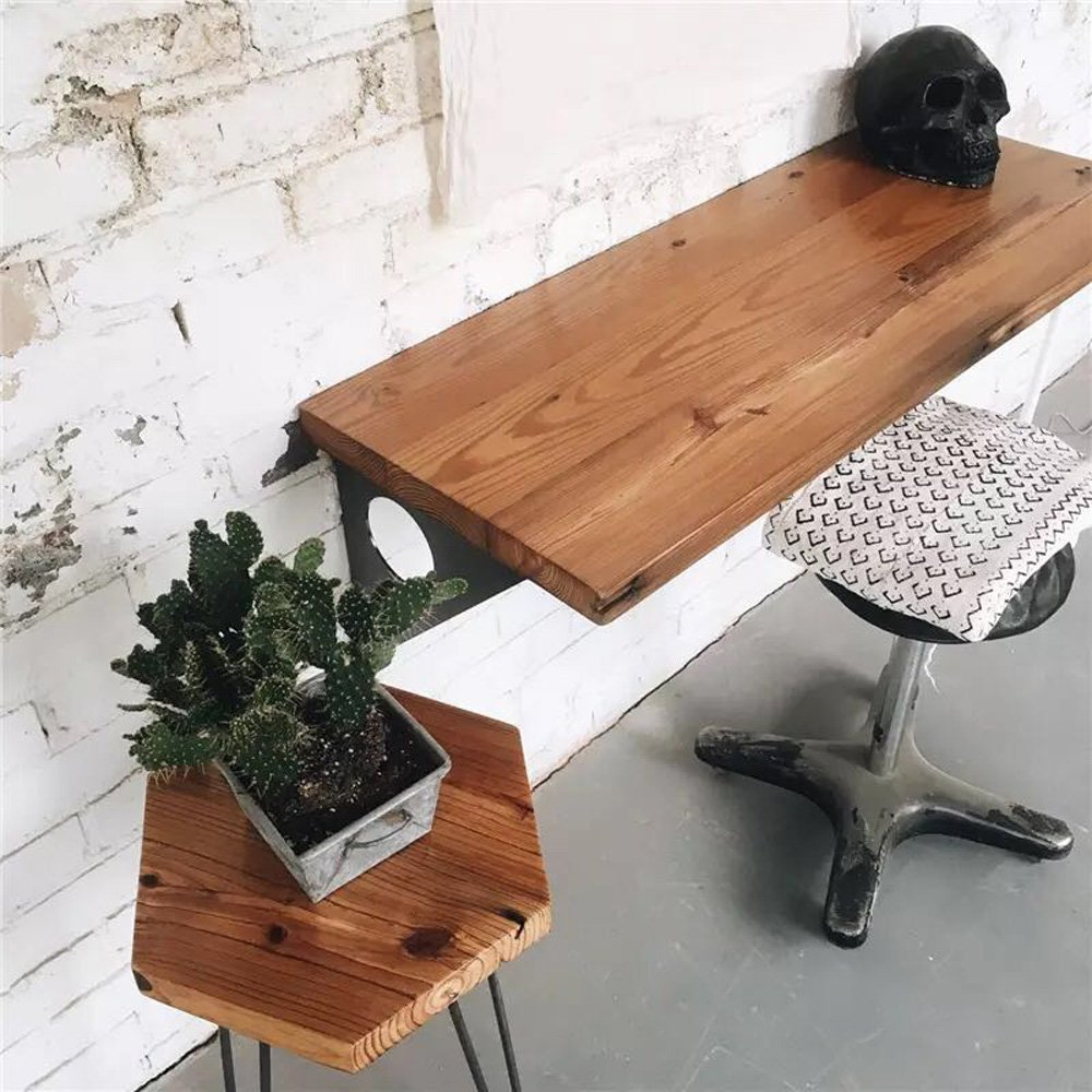 Industrial Rustic Wall-mounted Table, Dining Table Desk, Pine wood Wall-Mounted Bar Tables (40''X14'') by FOF