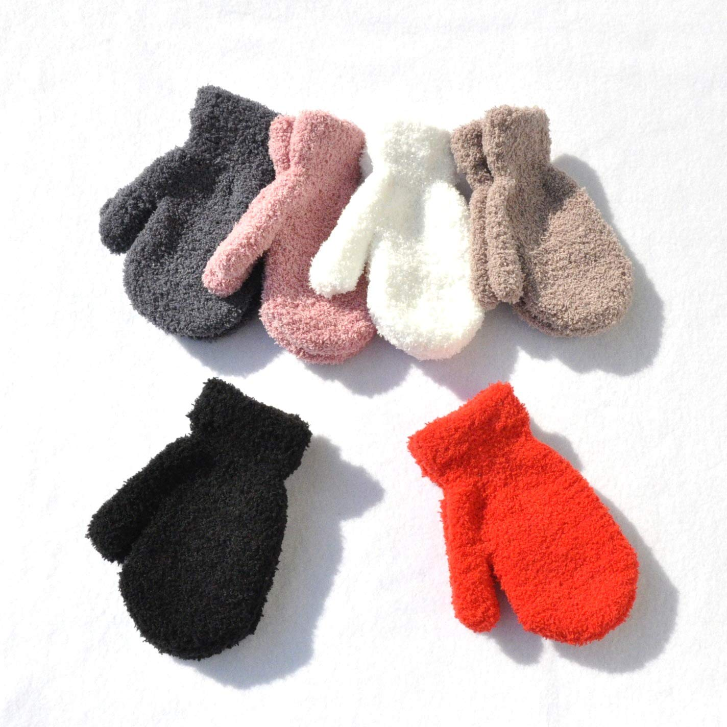Unisex Baby Toddlers and Kids Gloves Winter Thick Warm Mittens for Infant Child (6 Pairs, 1-3 Years old)