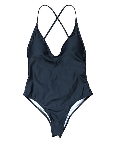 08d4416899 OMKAGI Women Padded Bandage One Piece Swimsuits Monokini Sexy Cute Swimwear  Bathing Suit (S,