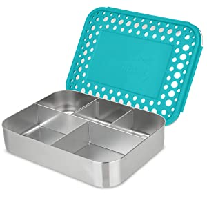 LunchBots Large Cinco Stainless Steel Lunch Container - Five Section Design Holds a Variety of Foods - Metal Bento Box for Kids or Adults - Dishwasher Safe - Stainless Lid - Aqua Dots